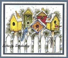 WINTER BIRDHOUSES BIRD CHRISTMAS Wood Mounted Rubber Stamp NORTHWOODS P10149 New
