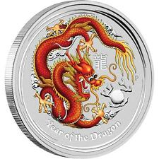 Perth Mint Australia $ 0.5 Ls2 Colored Dragon 2012 1/2 oz .999 Silver Coin