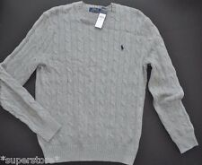 NEW RALPH LAUREN POLO Men's CABLE KNIT Crew Round Neck SWEATER BUSINESS Grey M