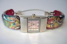 Pink Breast Cancer Awareness Watch Fused Dichroic Glass Handmade Wristwatch New
