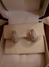 Sterling Silver 925 Huggie/Hoop Earring,Cubic Zirconia Stones,Omega