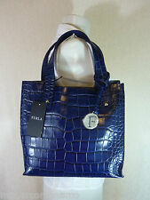 NWT FURLA Navy Blue Croc Embossed Small Musa Leather Tote Bag - $298