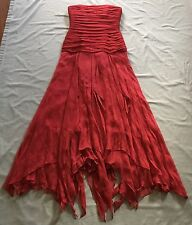 *BCBGMAXAZRIA Womens $300 Strapless Asymmetrical Long Chiffon Silk Red Dress 0*