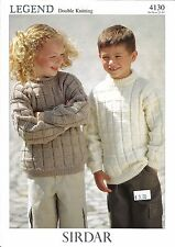 Legend Sweaters Double Knitting Pattern Sirdar #4130 Girls & Boys 1yr-10yr