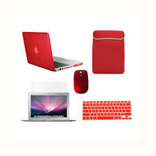 """5 in1 Crystal RED Case for Macbook PRO 15"""" Retina + Key Cover+ LCD + Bag + Mouse"""