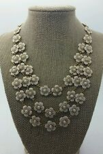 KATE SPADE Gold Tone Pink Flower Pearl 3 Strand Tiered Necklace RARE