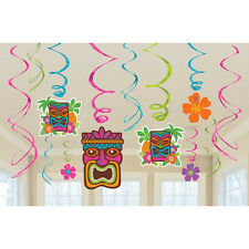 12 Luau Tropical Tiki Colorful Flowers Birthday Party Hanging Swirl Decorations