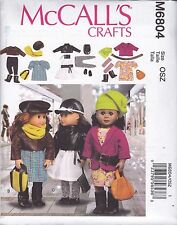 McCall's Craft Sewing Pattern 18 inch Doll Clothes 3 outfits JACKET DRESS M6804