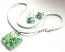 Matching Green Opal 925 Silver Pendant Necklace & Hoop Ear Rings Surfer Cord