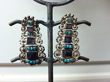 Authentic Matl Salas Mexican sterling turquoise and amthyst earring