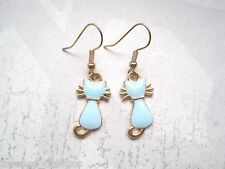*CUTE SITTING CAT* Gold Plated Drop Earrings VINTAGE STYLE Aqua Blue Turquoise