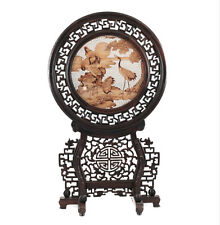 Chinese Wood Tabletop Screen - hand carved, Fire Needle Embroidery / pyrography