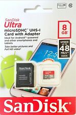 NEW LOT 10 SanDisk Ultra MicroSDHC 8GB Micro SD Card 48 MB/S 320x with Adapter