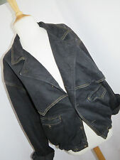 Chemin De Fer Black Jean Jacket Button Up Elastic Waist Unisex JC