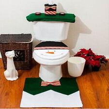 3pcs Christmas Decorations Happy Snowman Toilet Seat Cover Rug Bathroom Set UR