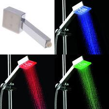 Square 9 LED Light Shower Head Sprinkler Water Temperature Sensor 3 Color Change