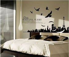 Feather Paris /Eiffel Tower Landscape Bedroom Removable Wall Sticker/Decal/Paper