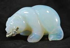 Opalite Bear with Dalmatian Jasper Fish Hand Carved Gemstone Animal Totem Statue