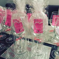 Personalised Heart Diamante Swarovski Crystal Wine Glass or Champagne Flute