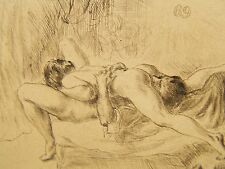 Erotic Original Nude Etching Print Pencil