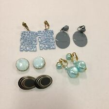 5 Pair of Vintage Costume Clip On Earrings~Great Condition~Blue/Gray~Lot #24