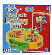 Kids Magnetic Fishing wind up Game Rotating Fun Fish Game Fishing Rod Toy Game