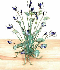 Blue Flowers with Dragonfly Enameled Copper Tabletop Sculpture by Bovano #T18