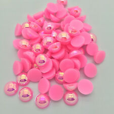 DIY 100pcs 8mm Half Round Pearl Bead Flat Back Scrapbook for Craft Cherry-red