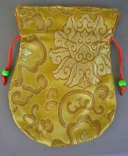 Embroidered Silk Prayer Bead Mala Bag GOLD w/ Drawstring