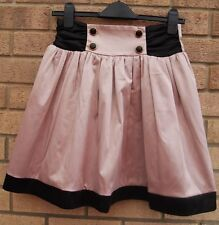 PRIMARK DUSTY PINK SATIN SKATER BLACK FLIPPY PROM PARTY FLARE RARE SKIRT 10 S