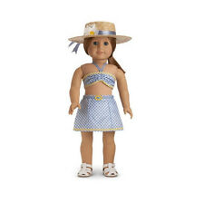 "American Girl EMILY 2 PIECE SWIMSUIT for 18"" Dolls Molly Retired Hat NEW NIB"