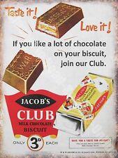 Vintage Cibo,93,Jacob's Club Cioccolato Biscotto,Vecchio Shop Novità Frigorifero