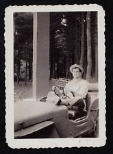 Old Vintage Antique Photograph Man Riding in Small Jeep / Golf Cart in Woods