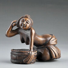 "1940's Japanese Boxwood Wood Netsuke ""Nude Lady Bathing"" Figurine Carving"