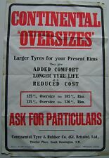 Continental Oversizes Original Bicycle Tyre Cycling Poster unillustrated  n/d