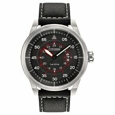 NEW CITIZEN ECO-DRIVE AVION LEATHER STRAP MEN'S WATCH AW1361-01E