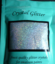 Crystal Glitter for emulsion paint, many colours with added Holographic crystals