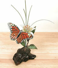 Monarch Butterfly with Daylily Enameled Copper Sculpture #FM37 by Bovano