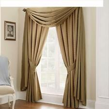 WATERFORD LINENS HEIRESS TOP WINDOW DRAPES & TIEBACKS - PAIR - MINERAL