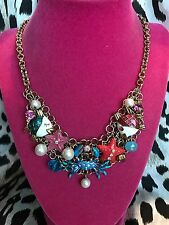 Betsey Johnson Jewels Of The Sea Fish Blue Crab Pearl Starfish Nautical Necklace