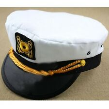 White Women Men Adult Yacht Boat Captain Hat Navy Cap Sailor Fancy Dress Costume