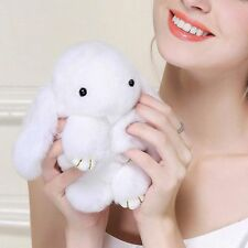 White Bunny Rex Rabbit Fur Phone Car Pendant Handbag Charm Key Chain Ring 14cm