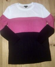 Women's Ronson micro knit crew neck sweater size M stripe pink white black NWOT