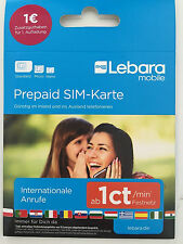 German LEBARA Prepaid Sim Card PAYG Tri-SIM 1 EUR credit, up to 5GB data Germany