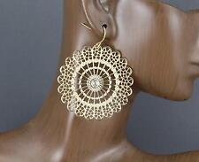Gold disc earrings filigree cut out round medallion dangle earrings lightweight
