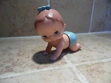 """Vintage """"TOMY"""" Wind Up Plastic Crawling Baby Doll (Dated 1977)"""