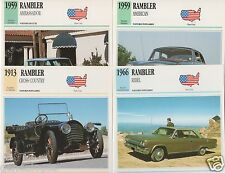 4 FICHES AUTOMOBILE USA CAR RAMBLER CROSS COUNTRY AMBASSADOR AMERICAN REBEL