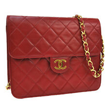 Authentic CHANEL Quilted CC Logos Chain Shoulder Bag Red Leather Vintage JT03882