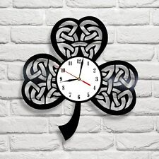 Irish Celtic Shamrock design vinyl record wall clock home shop office bedroom 2