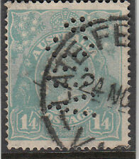 Stamp Australia 1/4 turquoise KGV single watermark with VOCo private perfin